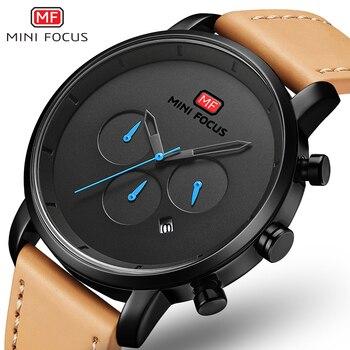 Relojes MINI FOCUS para hombre 2019 relojes deportivos de cuarzo de moda para hombre multifunción reloj de cuero delgado para hombre los hombres reloj de pulsera