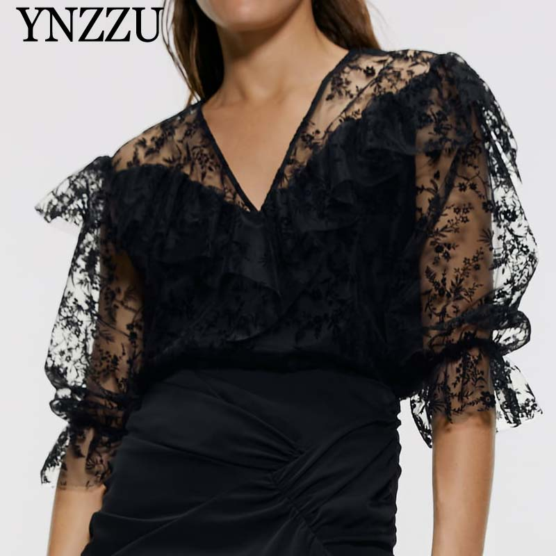 <font><b>Sexy</b></font> <font><b>Mesh</b></font> Flocking Women tops V-neck Fashion Floral tulle Female <font><b>blouse</b></font> shirt Black lace Hollow out <font><b>blouse</b></font> Summer <font><b>2019</b></font> YT740 image
