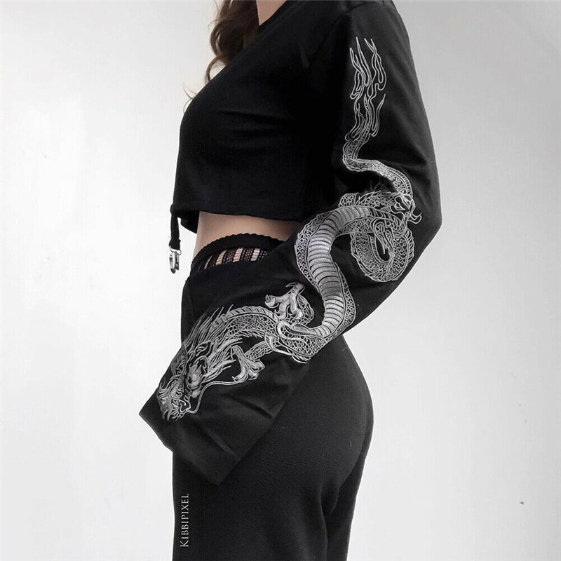 New Sexy Women Long Sleeve Crop Tops Chinese Dragon Print Autumn Spring Out Wear Hoodies O Neck Casual Coat Pullover Top