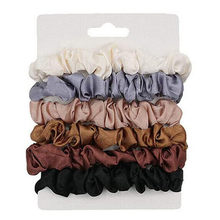 6pcs feminino maquiagem hairbands cores conjunto de laços elásticos cabelo seda cetim scrunchie rabo de cavalo cordas acessórios