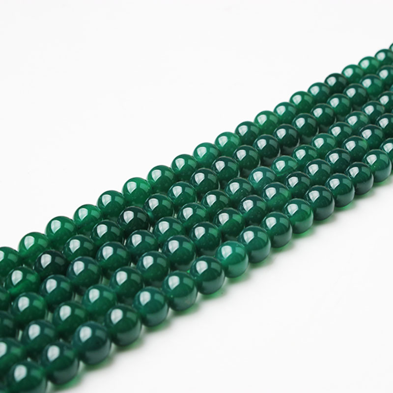LanLi 6/8/10/12mm Green Agates-beads Fashion Natural Stone Scattered Beads DIY Bracelet Neckace Accessories Make