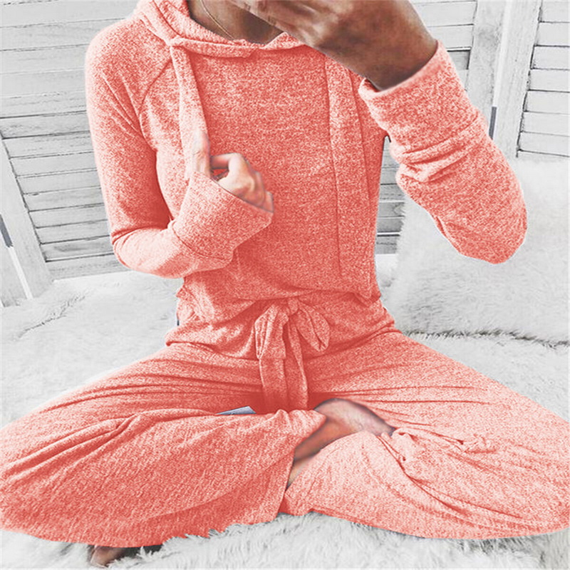 LASPERAL 2019 Women Autumn Two Piece Sets Long Sleeve Hooded Slim Sweatshirt Bandage Straight Long Pants Female Solid Home Suit