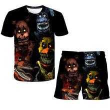 Zestaw ubrań fnaf dla chłopców t shirt FNAF odzież dla chłopców spodnie dla dzieci zestaw dla dzieci letnie spodenki plażowe luźna koszulka 4-14Yrs tanie tanio XIZOU Aktywny CN (pochodzenie) O-neck Zestawy Children s T-shirt Poliester Unisex Krótki REGULAR Pasuje prawda na wymiar weź swój normalny rozmiar