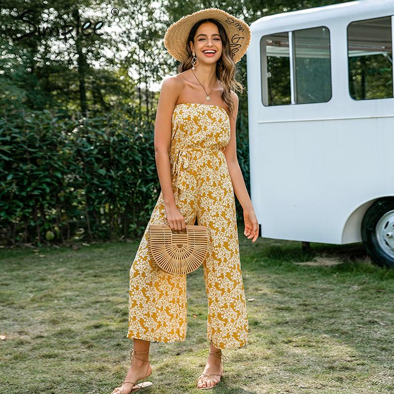Simplee Bohemian Floral Print Long Jumpsuit Women Tube High Waist Lace Up Female Jumpsuit Summer Wide Leg Loose Ladies Jumpsuits