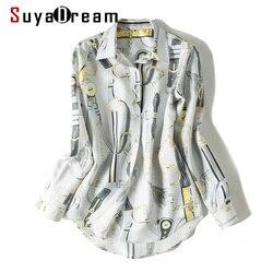 SuyaDream Women Print Blouse 100%Silk Twill Long Sleeved Turn Down Collar  Office Blouses 2020 Spring Shirt