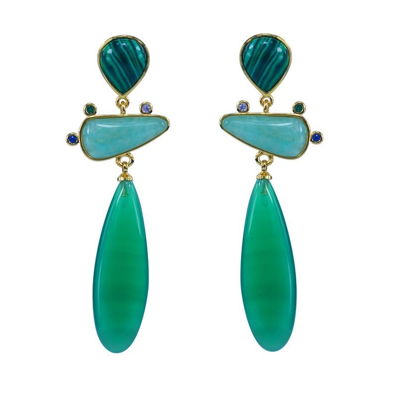 Moonstone Amazonite emerald natural stone silver 925 earrings long for women geometric drop earring ethnic jewelry