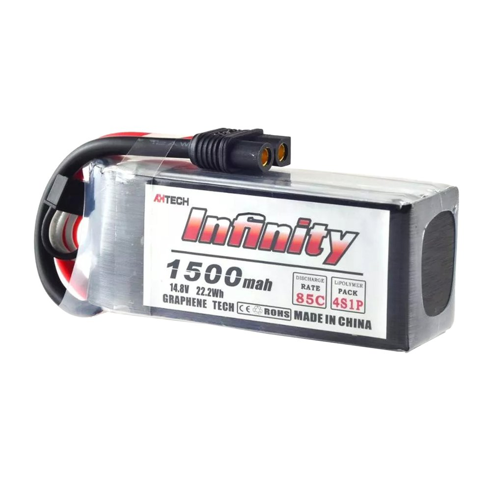 AHTECH Infinity 4S 14.8V/3.8V 1500/1300m/450mAh 85C Graphene LiPo Battery XT60 Support 15C Boosting Charger For RC Racing Drone image