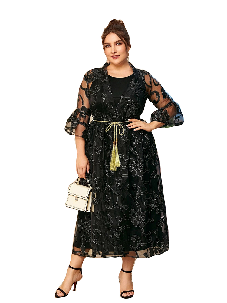 2020 Abaya longue été femmes robes papillon manches grande grande taille mode élégant O cou maille ceintures Ramadan robe Midi