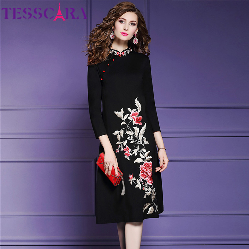TESSCARA Women Autumn Winter Elegant Embroidery Dress Festa Female Office Vestidos Designer Vintage Party Robe Femme Plus Size