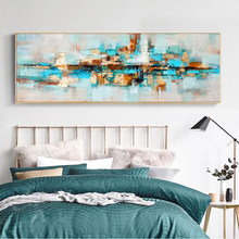 Modern Abstract Oil Painting on Canvas Posters and Prints Wall Art Painting Navy Blue Abstract Pictures for Living Room Decor(China)