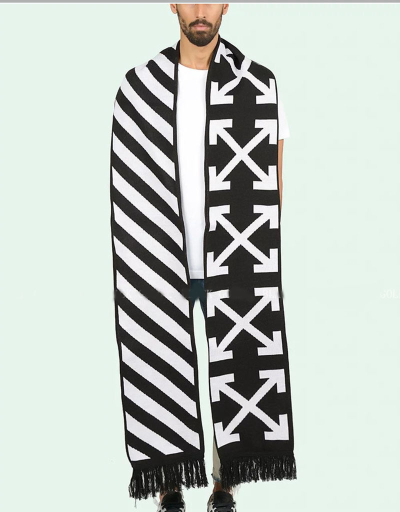 Lengthen Stripes Ten Arrowhead Scarf White Fake Foreign Velvet Popular Brand Scarf Jacquard Tassels Fans Scarf Men And Women Ow