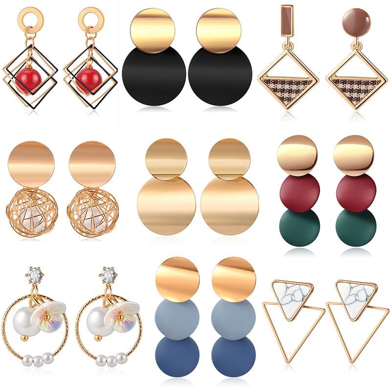 X&P Vintage Acrylic Statement Drop Earrings for Women 2020 Fashion Jewelry Korean Pearl Geometric Gold Hanging Dangle Earring