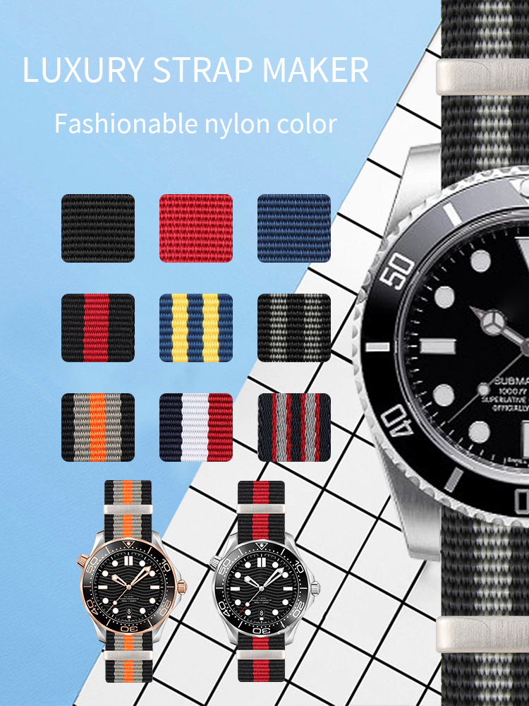 Waterproof Nylon Watchband Long Nato Strap For Omega For Rolexwatch Sub Sport Watchstrap 007 Colorful Bracelet Man 20mm 22mm