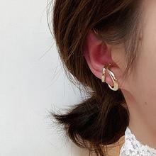 New Gold Silver Color Ear Cuff Double Hollow Circle Earrings Women Minimalist Earcuff Clip