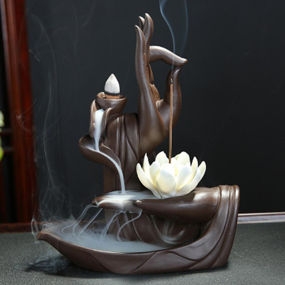 Zen Buddha Hand Incense Burners Backflow Incense Burner Holder Lotus Home Decor Joss Stick Aroma Tower Censer With20PCS Cones