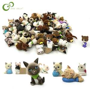 2Pcs Flocking Cat Dog Animal Simulation Pet Ornaments Doll Toy Action Figure Toy Collecting Doll for Christmas New Year Gift GYH