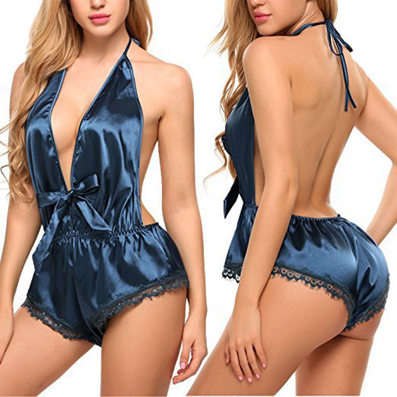 Sexy Women's Sleepwear Sexy Satin Pajama Set Black Lace V-Neck Pyjamas Sleeveless Cute Cami Top And Shorts Erotic lingerie(China)