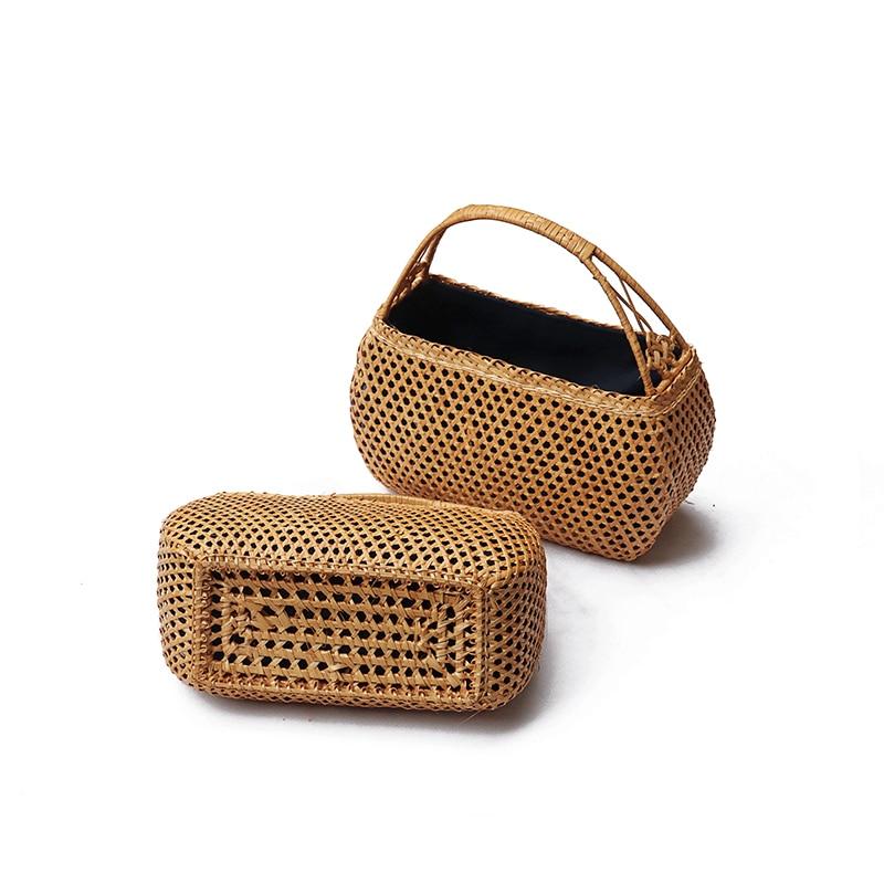 Image 4 - Female Bamboo hand Bags Bohemian Beach Handbag Lady Vintage  Rattan handbag Hollow Handmade Woven Basket ToteTop-Handle Bags   -