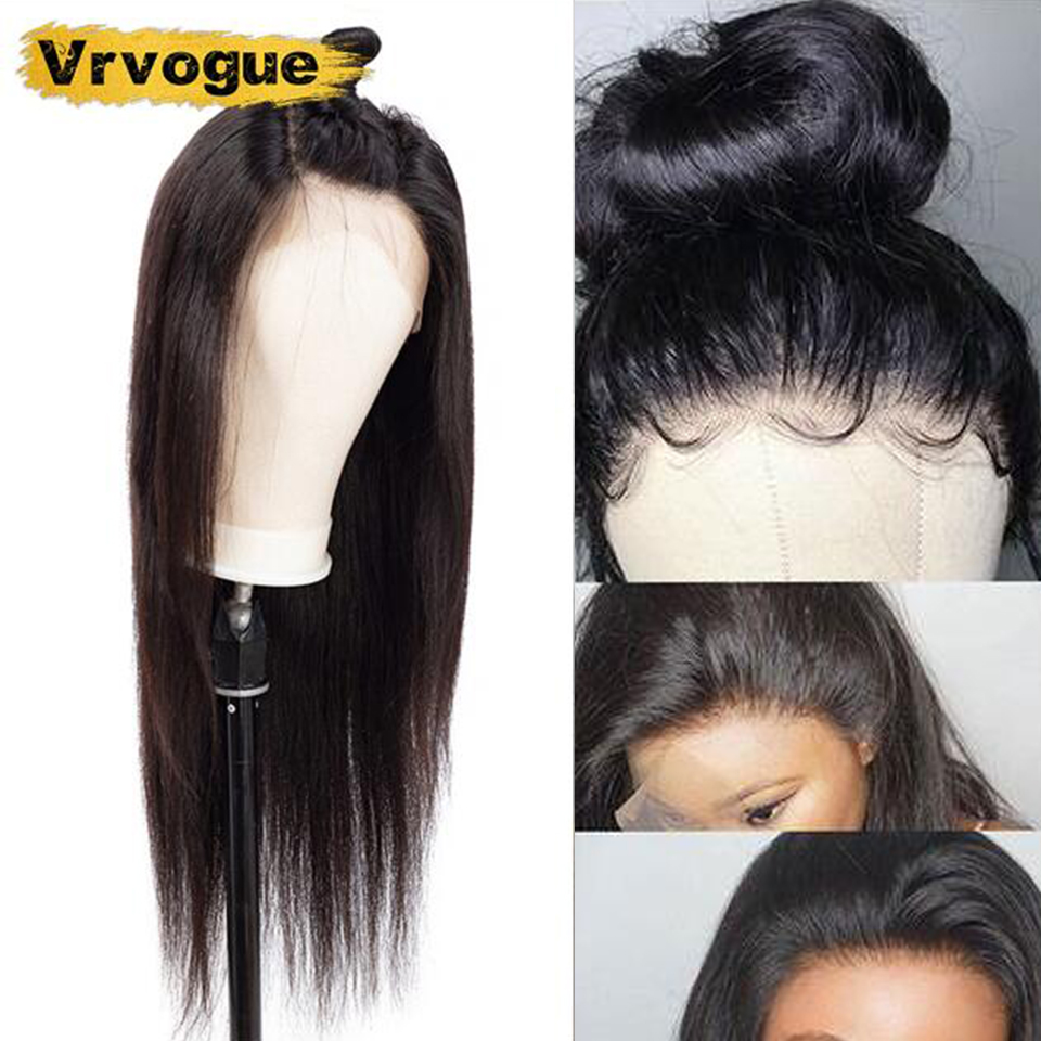 Vrvogue Hair 13x4 Lace Frontal Human Hair Wigs For Black Women Brazilian Straight Remy Lace Frontal Wig Pre Plucked Baby Hair