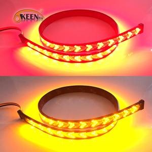 Image 3 - OKEEN רכב LED טנדר חץ אדום LED זורם צהוב איתות מנורת סריקה בלם LED אור בר 100cm הפוך זנב אור הרצועה
