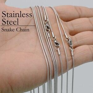 Image 5 - 50 sztuk wąż ze stali nierdzewnej naszyjnik łańcuch, 16/18/20/22/24/30 Cal 1.2mm naszyjnik z wężem nie niszczą nie znikną dla kobiet biżuteria