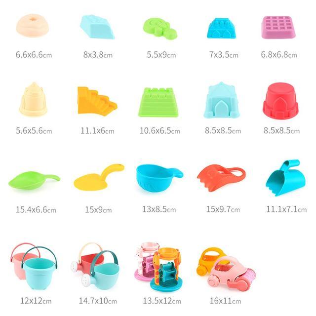 9/17pcs Strand Zand Speelgoed Voor Baby Kinderen Kasteel Emmer Spade Schop Hark Water Spel Spelen Voor Kinderen spelen En Plezier Clear 1