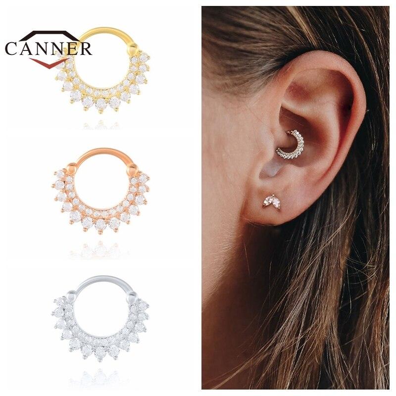 CANNER 925 Sterling Silver Hoop Earrings for Women Zircon Round Nose Piercing Cartilage Earrings Earings Jewelry pendientes 1pc