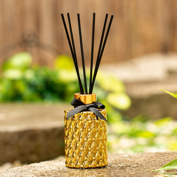 Golden Glass 100ml  Aromatherapy Essential  Reed Oil Diffuser with Natural Sticks   1