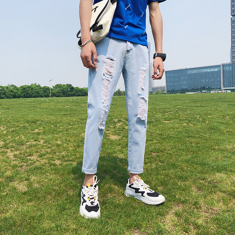 Summer New Style Jeans MEN'S Cropped Pants Students Korean-style Street With Holes Trend With Holes Beggar Casual Trousers