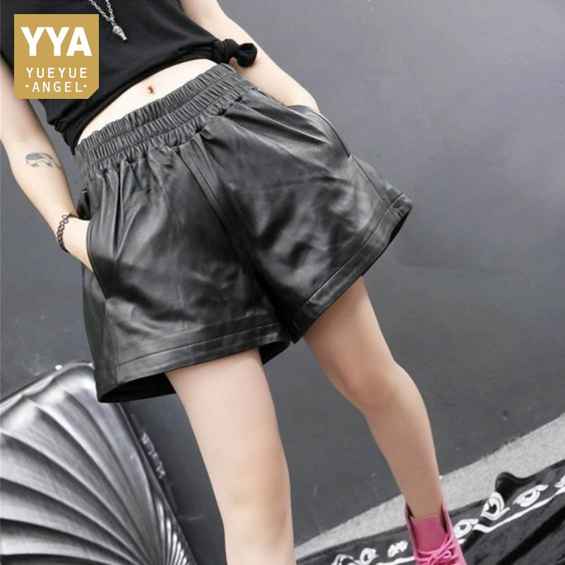 Genuine Leather Shorts Women Luxury Elastic Waist Loose Sheepskin Wide Leg Shorts Street Autumn Winter Casual Shorts Plus Size