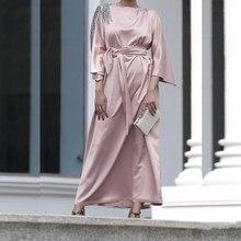 Abaya – Robe Longue en Satin pour femmes, Hijab, mode musulmane, Ramadan Eid Mubarak, dubaï, turquie, Islam