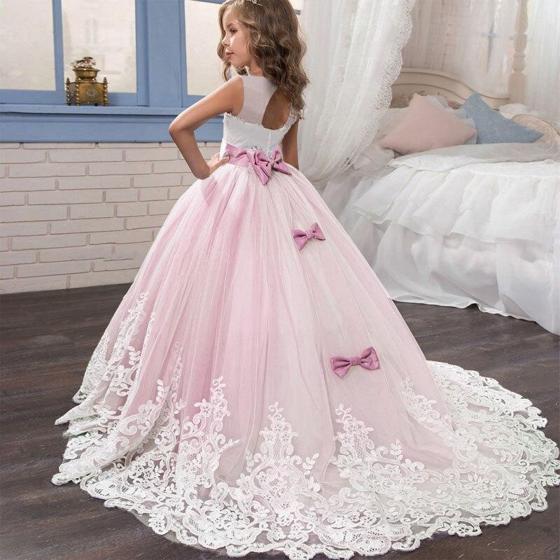 2021 Girls Christmas Dress White Bridesmaid Kids Clothes Girls Children Long Princess Dress Party Wedding Dress 14 10 12 Years 2