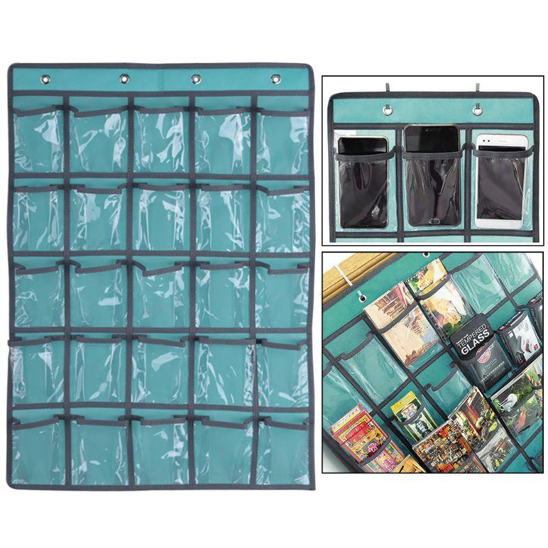 25 Clear Pockets Classroom Pocket Chart For Teacher Cell Phones Holder Door Hanging Calculator Organizer