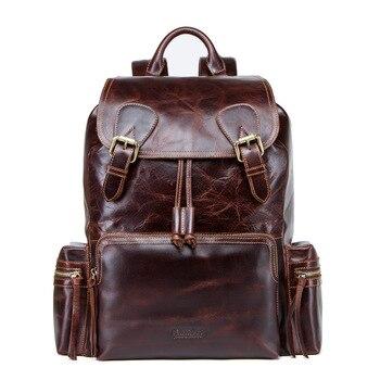 Genuine Leather Men Backpack Waterproof 16 inch Laptop Bags Luggage Backpacks Shoulder School Bags Fashion Male Travel Backpack цена 2017