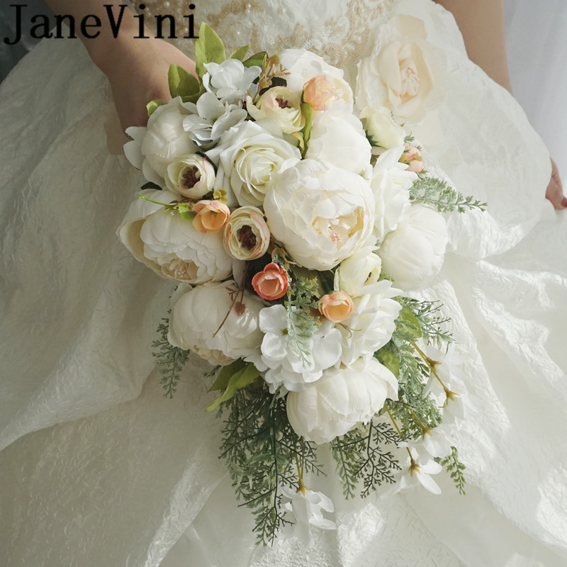 JaneVini White Waterfall Wedding Bouquet Artificial Peony Rose Bridal Hand Flowers Bridesmaid Bride Flower Bouquet Fiori Sposa