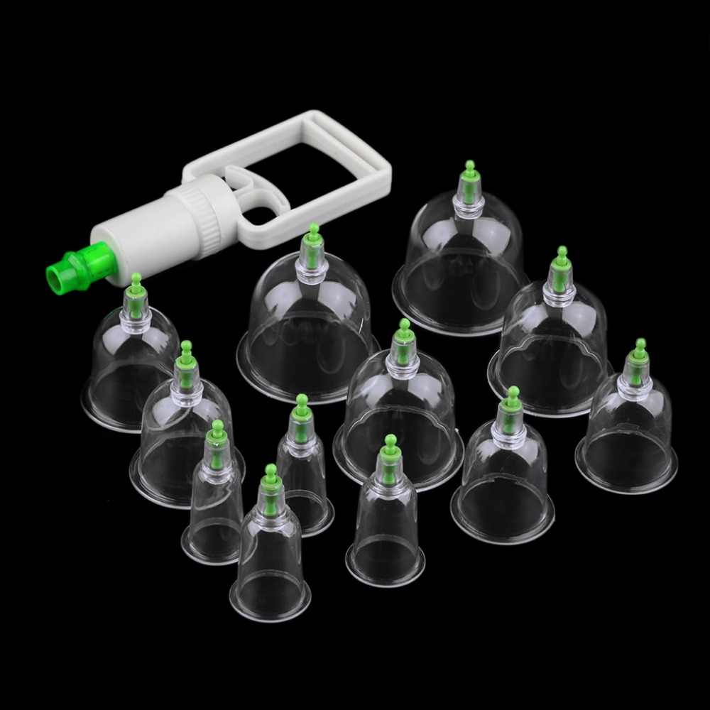 Effective Health Care 12 Cupping Cups Medical Vacuum Cans Suction Therapy Device Back Body Massage anti-cellulite massager Set