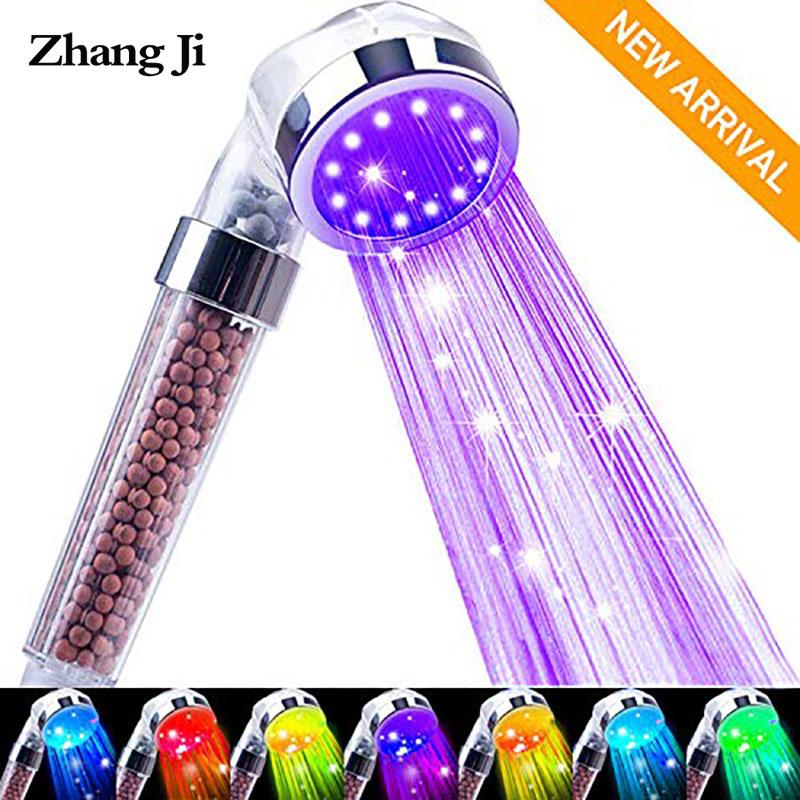 ZhangJi Bathroom Water-Saving Led Shower Head 7 Color Change Randomly Regendusche Handdouche Met Led Ducha Bath Led Shower Head