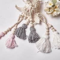 Wooden Bead String With Tassel Hanging Handmade DIY Home Decoration Children Room Pendant Photography Props