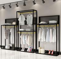 Clothing store shelves women's clothing store simple high and low shelf window shoe bag floor stand