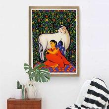 Yashoda krishna jodi индийская живопись холст плакат современная