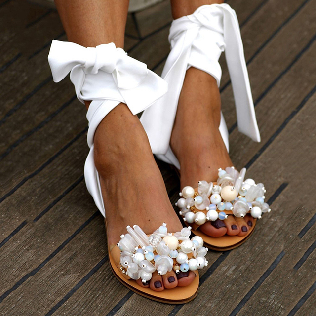 2020 Handmade Sandals Women Flat Sandals Ankle Strap Beaded Special Women's Shoes Beach Sandals Plus Size 35-43