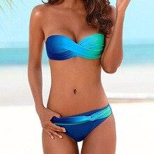 Bikini Push Up Swimwear Women Swimsuit Female Bikini Set Brazilian Bathing Suit 2020 Gradient Beachwear Maillot De Bain Femme XL 2018 sexy bikini swimwear sexy swimsuit women beachwear biquini halter top girl bathing suit brazilian bikini maillot de bain