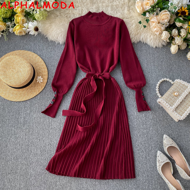 ALPHALMODA High Collar Buttons Sleeve Pleated Women Autumn Winter Sashes Tie Pleated Knit Dress Female Vintage Classical Dress 67