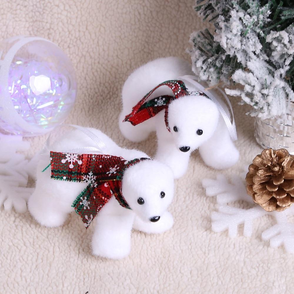 2 stks/pak Kerstboom Decoraties Leuke Witte Beer Pop Nieuwe Jaar Decoratie Ornamenten Xmas Gift Kerst Decoraties Voor Huis