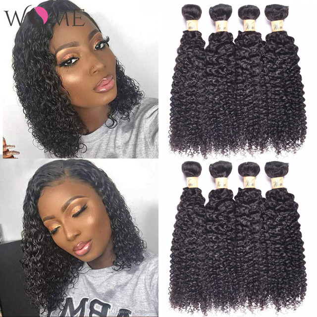 WOME Brazilian Kinky Curly Human Hair Bundles Jerry Curls 1/3/4 Bundles 10 26 Inches Natural Color Non remy Hair Extensions