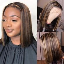 Alibele Highlight Short Bob Wig Brown Blonde Straight Lace Front Human Hair Wigs 8 14inch 13x4 Short Glueless Human Hair Wig
