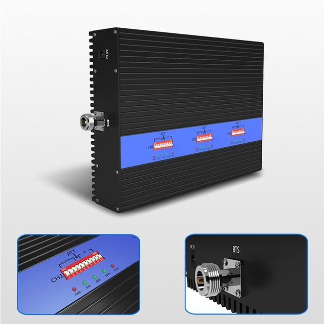 Lintratek AMPLIFICADOR DE señal de banda tribanda, nuevo repetidor 80dB GSM 2G 3G 4G, 900 1800 2100Mhz, AGC MGC, gran cobertura, 25dBm