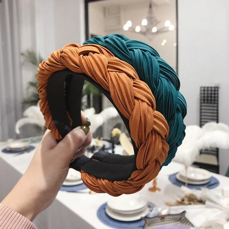 Купить плетеные повязки на голову шелковые атласные корейские модные