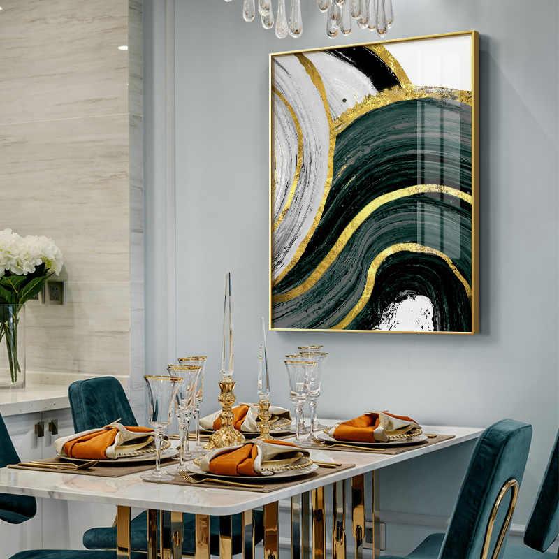 추상 골드 그린 기하학적 벽 아트 그림 포스터 및 인쇄 캔버스 회화 북유럽 장식 홈 거실 장식