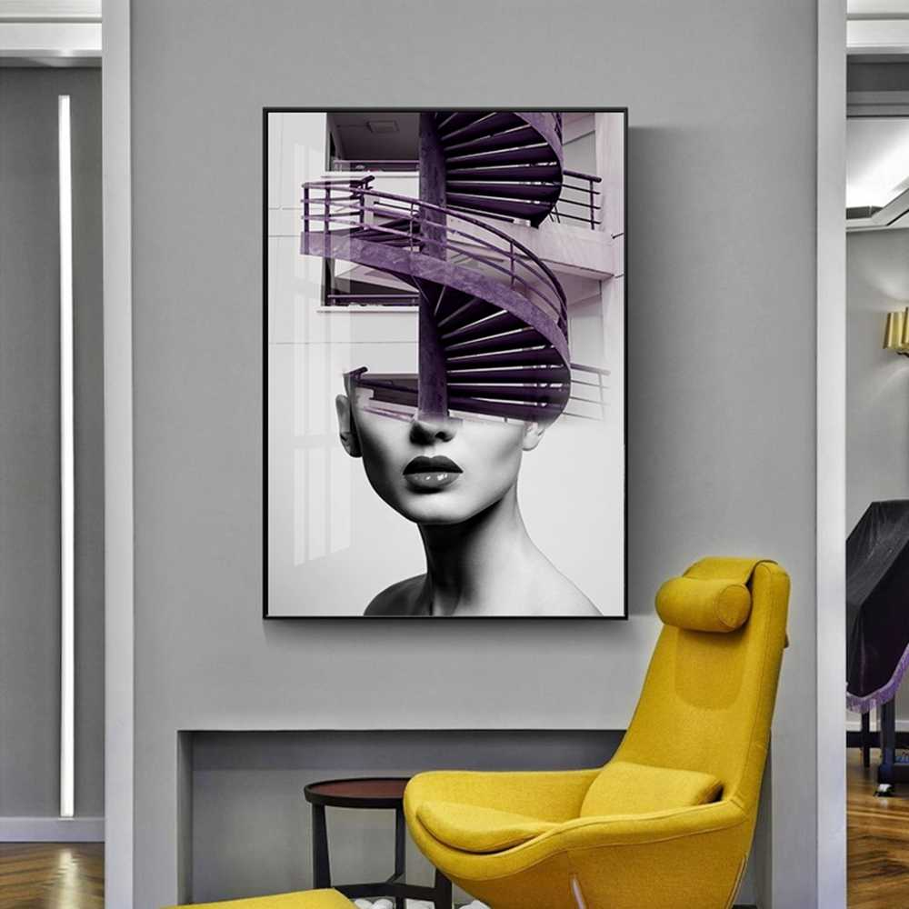 Abstract Art Painting Girls And Stairs Canvas Wall Pictures Fashion Wall Pictures For Living Room Home Decor cuadros